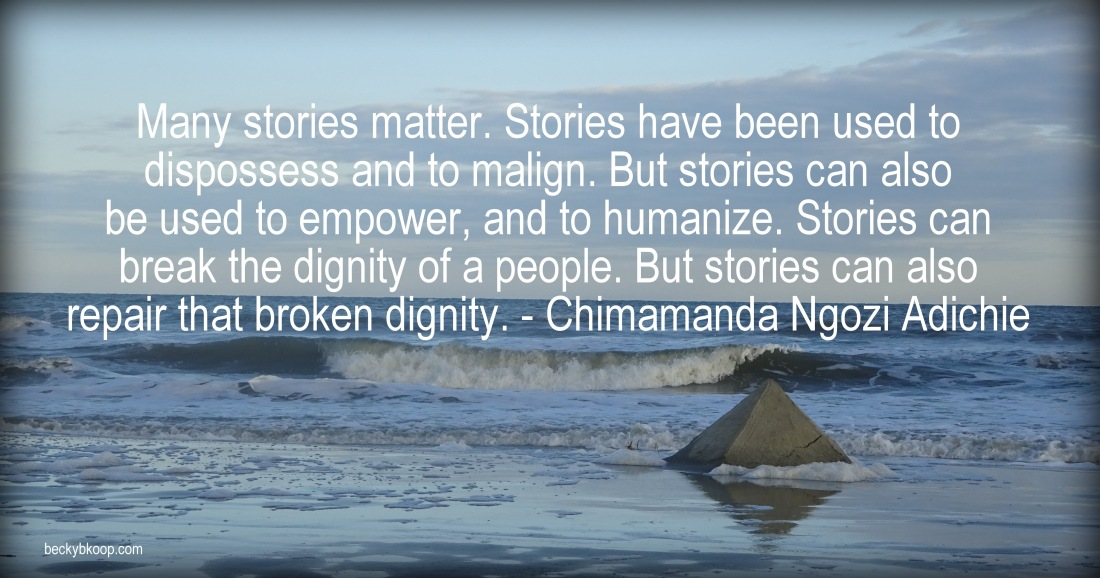 """Many stories matter. Stories have been used to dispossess and to malign. But stories can also be used to empower, and to humanize. Stories can break the dignity of a people. But stories can also repair that broken dignity."" - Chimamanda Ngozi Adichie, author"